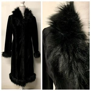 GUESS Jeans Glamour Black Faux Fur Trim Boho Coat